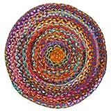 Alfombra Redonda de algodón Reciclado, Comercio Justo, 60 x 60 cm