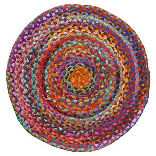Chindi Teppich, geflochten, rund, aus recycelter Baumwolle, 60 x 60 cm