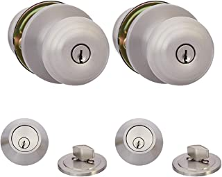 AmazonBasics Entry Knob With Lock and Deadbolt, Classic, Satin Nickel, Set of 2