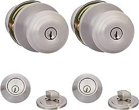AmazonBasics Entry Knob With Lock and Deadbolt, Classic, Satin Nickel, Set of 2