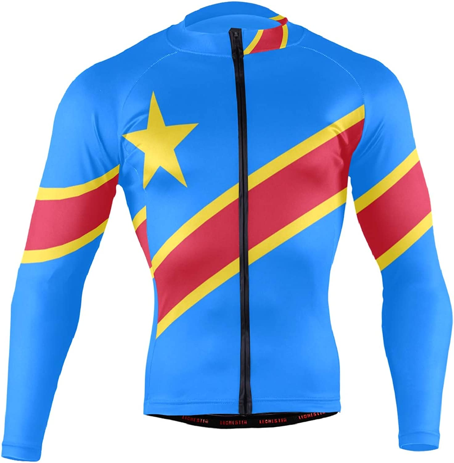 Men's Cycling Jersey Long Sleeve with 3 Rear Pockets Suit Democratic Republic of Congo Flag