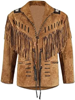 COCOBEE Men's Suede Leather Jacket Western Suede Leather Jacket with Fringe and Tassels