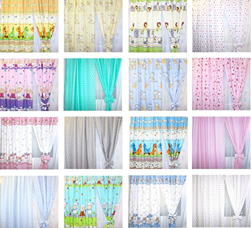 Baby Kinderzimmer Vorhänge Gardine Babygardinen Kindergardinen Safari Eule Bärchen Sterne D2