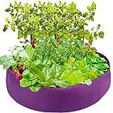 Lulalula Lit de jardin surélevé en tissu rond perméable à l'air pour herbe, fleurs, légumes, plantes Dia 50'' x H 12'' violet