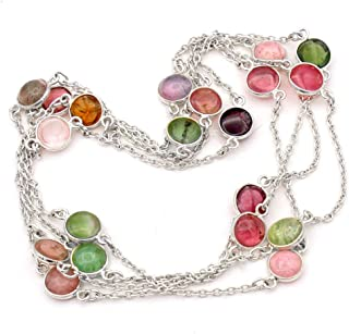 Multi Color Tourmaline beads Gemstone Necklace Healing Reiki Necklace Chain Necklace Link Necklace 925 Sterling Silver Jewelry 44