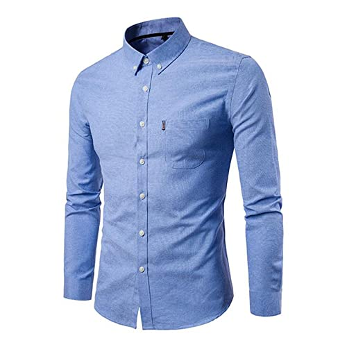 6cefc8b626ee Gdtime Homme Chemise Manches Longues Slim Fit Uni sans Repassage Chemises  Casual Classique Business (Bleu