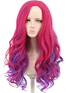 Yuehong Long Wavy Mixed Purple Red Anime Fashion Girl's Cosplay Wig Party Hair Wigs (Adult)