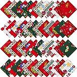 48 Pieces Christmas Cotton Fabric Bundles 5.9 x 5.9 Inch Assorted Quarter Bundles Square C...
