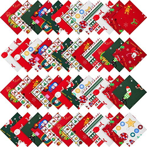 48 Pieces Christmas Cotton Fabric Bundles 5.9 x 5.9 Inch Assorted Quarter Bundles Square Christmas Tree Quilting Patchwork Precut Santa Claus Printed Fabric Scraps for Christmas Sewing DIY Crafts