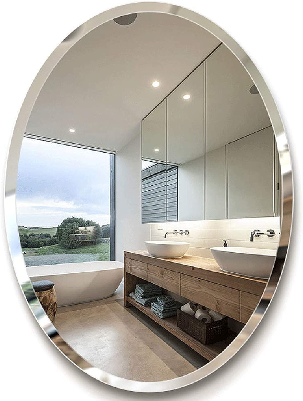 YONGMEI Bathroom Mirror - Bathroom Mirror Oval Bathroom Decorative Wall Mirror Makeup Mirror (color   Silver, Size   40  60CM)