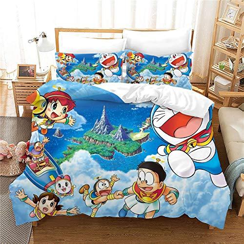 GDGM Doraemon, ropa de cama infantil para niña, 135 x 200 cm, 2 piezas, (1 funda nórdica + 1 funda de almohada) 3D ropa de cama de algodón/Renforcé (135 x 200 cm)