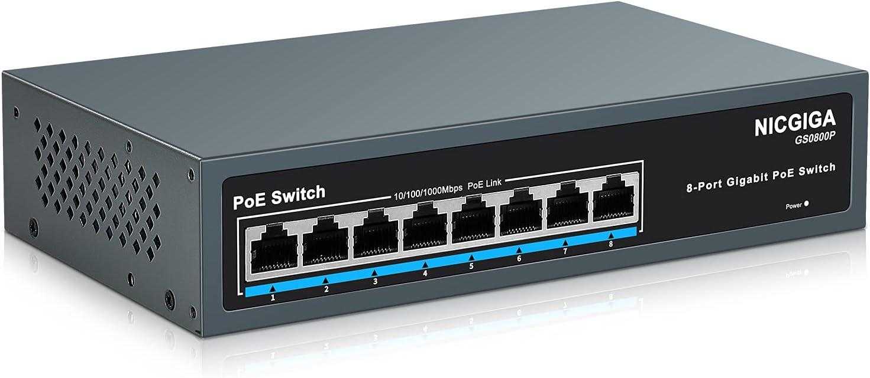 NICGIGA Conmutador Gigabit PoE de 8 Puertos @120W, Carcasa metálica Robusta sin Ventilador para Montaje en Escritorio/Pared/Rack, Plug and Play, conmutador Power Over Ethernet no gestionado (GS0800P)