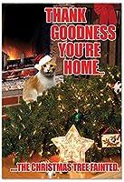 ツリーfainted-catクリスマスユーモアGreeting Card 12 Christmas Card Pack (SKU:B2546XSG)
