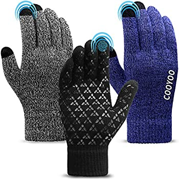 COOYOO Winter Gloves for Women and Men 3 Pairs,Touchscreen Gloves,Running Gloves