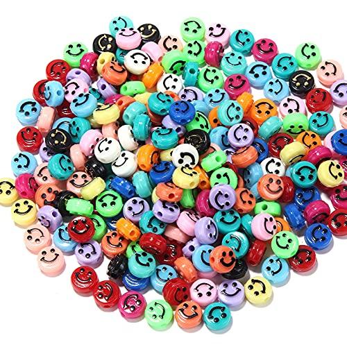 100 Unids Cuentas de sonrisa, Abalorios de cara sonriente feliz Acrílico para Collar Pulsera Joyería Hecha a Mano Accesorios de Fabricación(6*10mm)