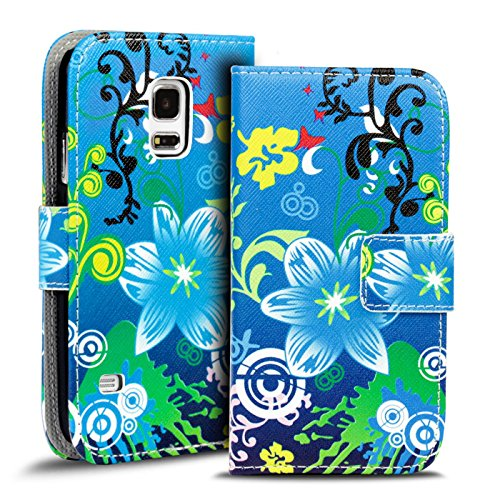 Conie PW34243 Print Wallet Kompatibel mit Samsung Galaxy S5 Mini, Motiv Klapphülle mit HD Druck Muster Etui für Galaxy S5 Mini Hülle Motiv Blau Bunt