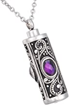 HooAMI Crystal Cremation Urn Necklace for Ashes Keepsake Stainless Steel Memorial Pendant