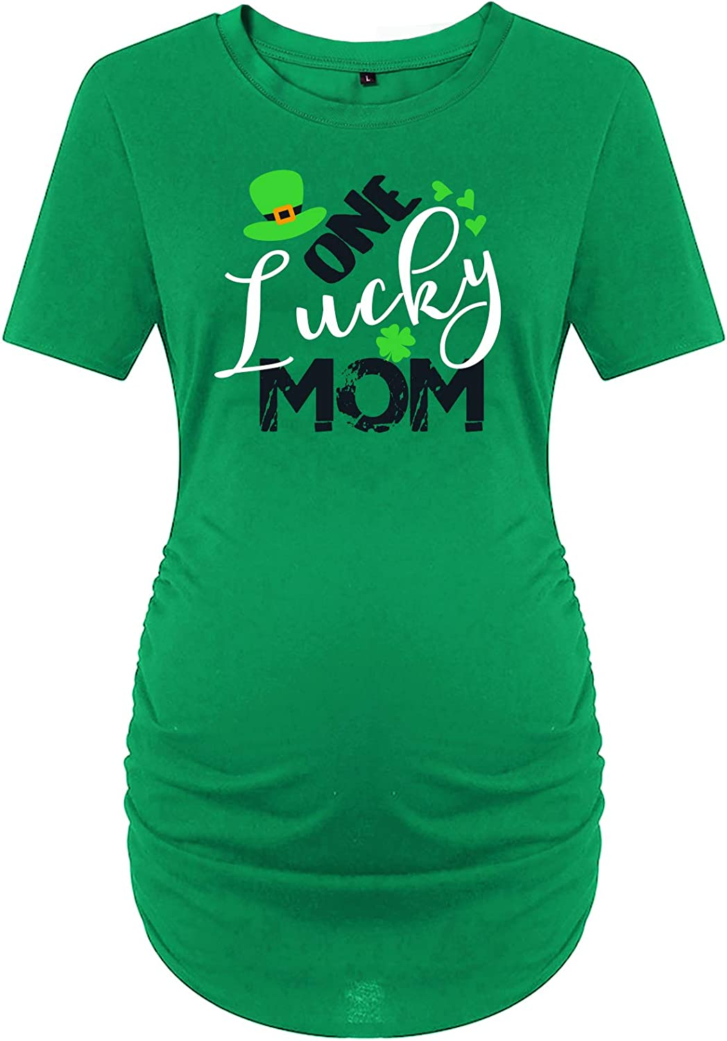 AMMENGBEI St Patricks Day Maternity T-Shirt Mommy/'s Lucky Charm Announcement Baby Pregnancy Top Shirt