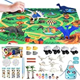 E-More Kit de Peinture Créatif Enfants, Dinosaures Figurines à Peindre, 44Pcs Jouets de Dinosaures Tricératops Non Toxiques, pour Garçons Filles 3 à 12 Ans