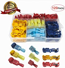 120Pcs T-Tap Wire Connectors,No Welding Quick Splice Electric Wire Terminals ,Self-Stripping Insulated Male Quick Disconnect Spade Terminals Assortment Kit