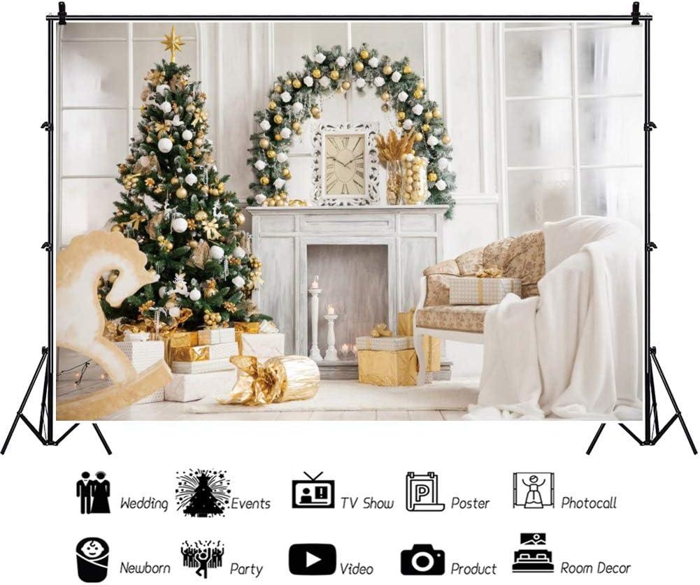 Leyiyi 15x10ft Christmas Fireplace Backdrop Xmas Tree White and Golden Xmas Decoration Balls Gift Box Sofa French Wall Window Photography Background Little Horse Newborn Baby Birthday Party Banner