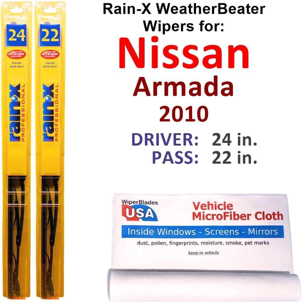 Rain-X WeatherBeater Regular dealer Wiper Blades for Nissan Set 2010 Rai Japan Maker New Armada