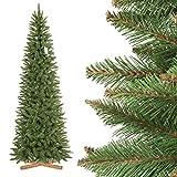 FairyTrees Árbol de Navidad Artificial Slim, Picea Natural, el Tronco Verde, el Material PVC, el Soporte de Madera, 250cm, FT12-250