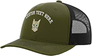 Custom Richardson Trucker Hat Bengal Cat Face Head Embroidery Design Polyester