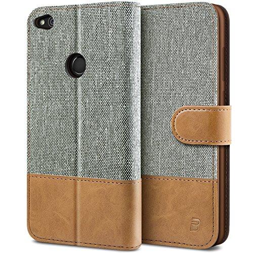 BEZ Hülle für Huawei P8 Lite 2017 Hülle, Handyhülle Kompatibel für Huawei P8 Lite 2017, Handytasche Schutzhülle Tasche [Stoff & PU Leder] mit Kreditkartenhaltern, Grau
