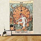 """Mazheny, arazzo tarocchi con luna, stelle e sole, arazzo medievale europeo per divinazione, da appendere e come decorazione misteriosa per la casa e la camera da letto, The Star, 59""""×82"""""""