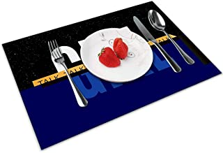 Set Of 6 PVC Place Mats Kitchen Dining Table Placemats Non-Slip Washable Blue #8
