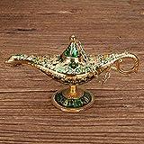 Buty Traje Genie Golden Green Classic Vintage Aladdin Ligera Aleación De Zinc Apoyo Mágico De La Lámpara De Mesa Decoración Hogar