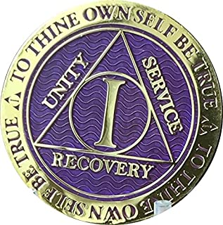 Recoverychip 1 Year AA Medallion Reflex Purple Gold Plated Chip