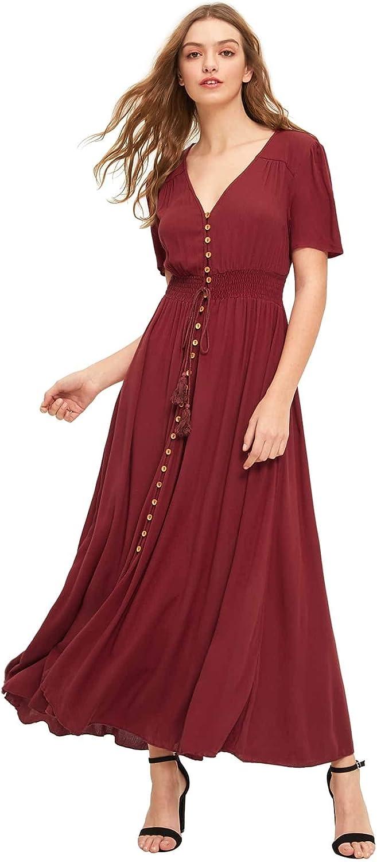 Milumia Women's Button Up Split Flowy Short Sleeve Plain A Line Party Maxi Dress