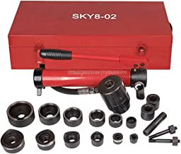 Pneumatic 10 Ton Air Hydraulic Knockout Punch Drive Hole Complete Set Metal Case 1/2 to 2 Dies