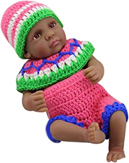 Baosity Flexible 11inch Newborn Baby Doll Black with Knitting Suit Model Home Decoration