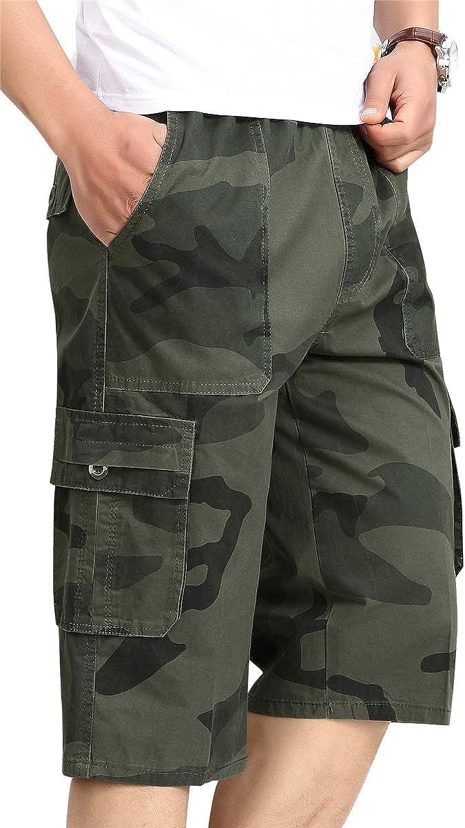 MIOUBEILA Men's Camo Capri Cargo Shorts