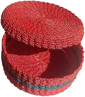 Green Breeze Imports Red Handmade Abaca Tortilla Basket
