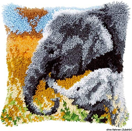 YINSY DIY Latch Hook Kits Crochet Needlework Crafts for Kids and Adults Handmade Pillow Cover - Elephant (17 X 17 Inch)