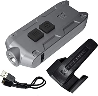 Nitecore TIP 360 Lumen USB Rechargeable Keychain Flashlight & LumenTac USB Charging Cable (Gray, More color in Options)