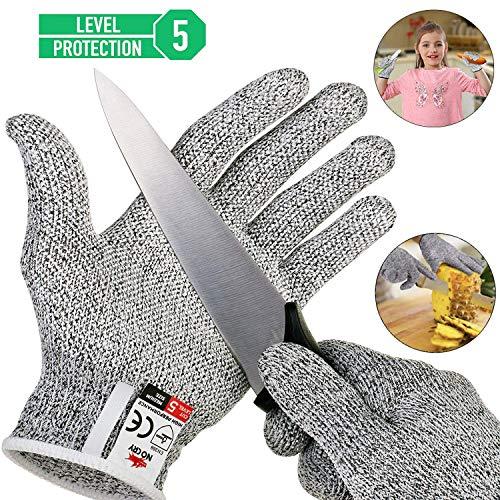 Schnittschutzhandschuhe Arbeitshandschuhe lebensmittelecht schnittfeste Anti-Rutsch Grip-Hochleistung Level 5 Handschutz Schnittschutz,Messer zu schärfen,Holz zu schnitzen (M)