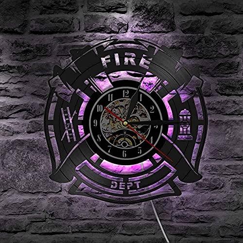Reloj de pared de vinilo con luz LED de 7 colores para grabar fuegos y rescate Fire Dept. signo de decoración de pared bombero hombre cueva bomberos reloj decorativo