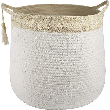 Cestino Portaoggetti in Cotone Bianco con Bordo in Erba Tessuta 36 x 38 cm Decorazione per la Casa