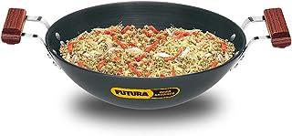Futura Hard Anodised Flat Bottom Deep-Fry Pan, 3.75 Litre, Black