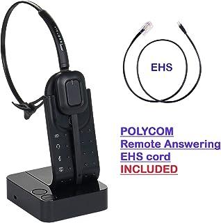 Wireless Headset Compatible with Polycom VVX300, VVX310, VVX400, VVX410 - Desk Office Phone Call Center Wireless Headset with Polycom EHS Cord Bundle as Polycom Wireless Headset