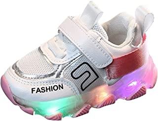 Sunward 1-6 Years Children Kid Baby Girls Boys Letter Led Luminous Sport Run Sneakers Casual Shoes