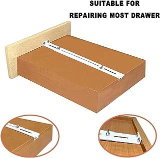 FRMSAET Drawer Repair Kit - Used to Reinforce and Repair Wooden/MDF/Chipboard Drawers Cabinet Reinforcement Heavy Duty Steel Hardware Furniture Accessories Brackets - Includes Screws (4 Pack)