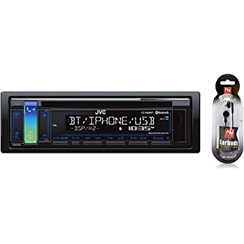JVC KD-R888BT CD/MP3 Car Stereo USB AUX AM/FM Radio iPod/iPhone/Android Receiver Built in Bluetooth and Hands Free Calling and Audio Streaming iHeartRadio with Detachable Face/Free NUTEK Earbuds