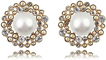 KRYSTAL COUTURE Swarovski Crystal Pearl Stud Earrings White Pearl White 18K Gold Plated Alloy Unique Jewellery for Women