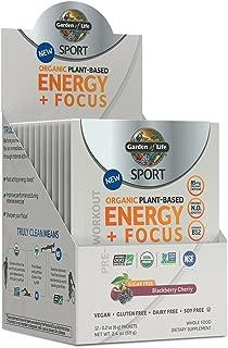 Garden of Life Sport Organic Pre Workout Energy Plus Focus Vegan Energy Powder, Sugar Free, BlackBerry Cherry, 12 Count